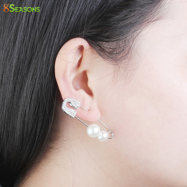8seasons Fashion Earrings For Women Safety Pin Earring Dull Silver Color Clear Created Rhinestone White Acrylic