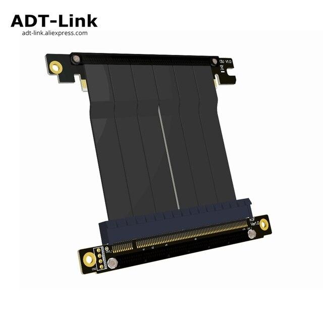 Cabo adaptador de placa mãe pcie x16 para x16, extensão de placas gráficas com ângulo de 90 graus para itx, placa mãe, chassis, mini pc estojo