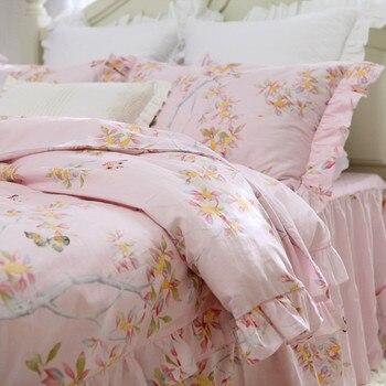 Pastoral butterfly love flower print bedding set  100% cotton rustic bedding bed set princess king bedding set duvet cover set