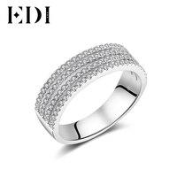 EDI 14 K Trắng Kim Cương Gold Độc Đáo Nhẫn Tuyên Bố Đối Với Phụ Nữ Cưới Bands/Engagement Rings Đồ Trang Sức Mỹ Món Quà Giáng Sinh