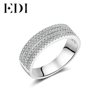 EDI 14K White Gold Diamonds Unique Ring Statement For Women Wedding Bands/Engagement Rings Fine Jewelry Christmas Gift