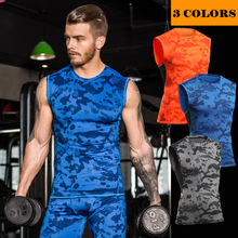 Men compression tank top vest camoflage tight body building shapers crossfit fitness vest quick dry MA47