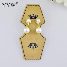 YYW 100pcs Crown Printed Kraft Paper Ear Studs Jewelry Display Card Earring Kraft Paper Tag Ear Ring Paper Hang Price Tags