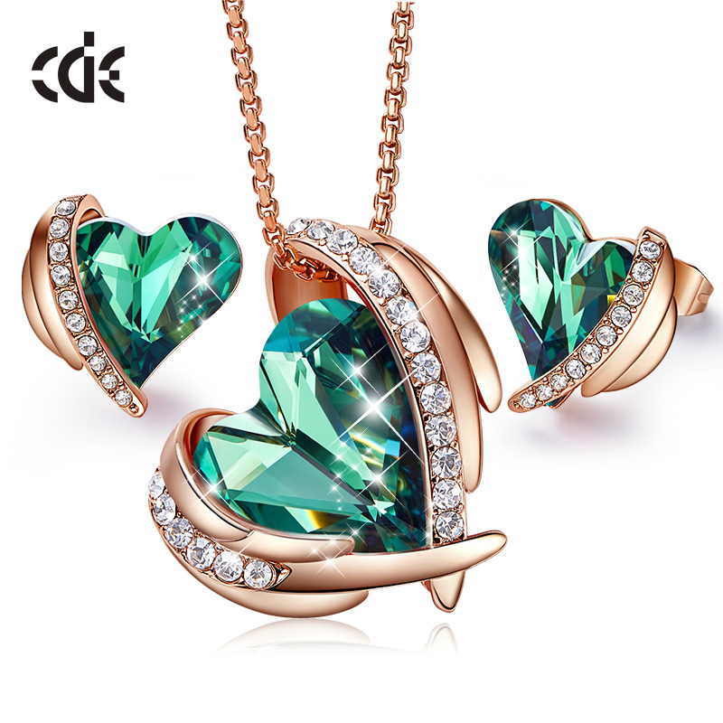CDE Women Gold Necklace Jewelry Set Embellished with crystals from Swarovski Angel Wings Necklace Earrings Set Gift For Her
