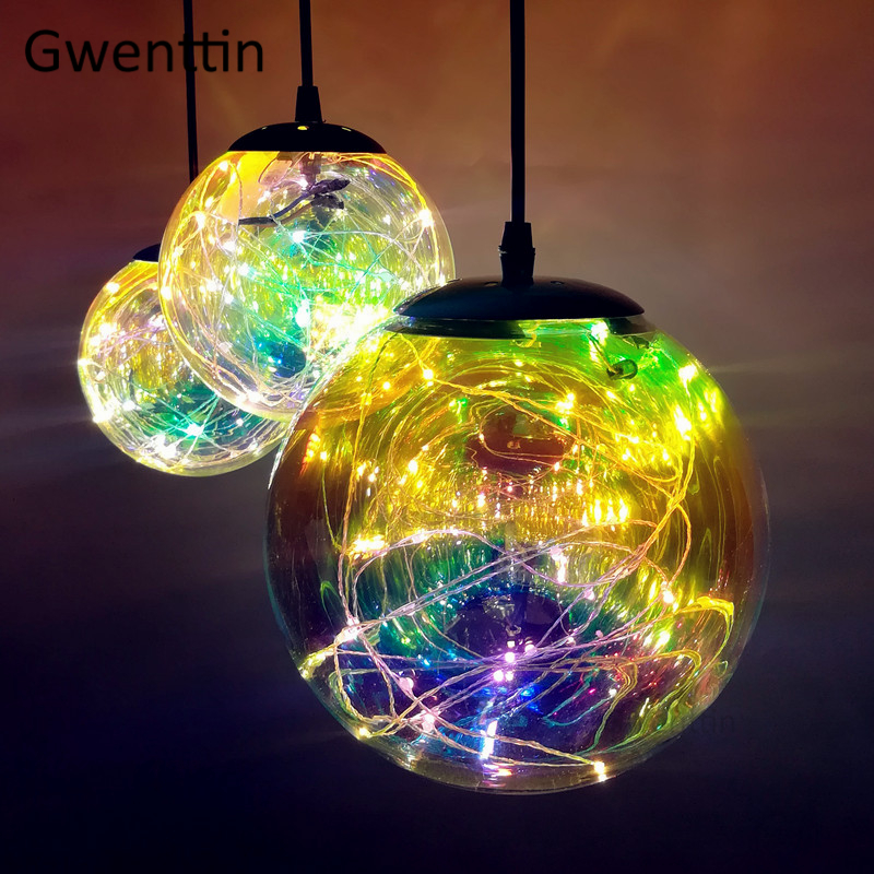 Modern Stained Glass Pendant Lights Led String Light Fixtures For Home Bar Kitchen Loft Decor Industrial Lamp Hanging Luminaire