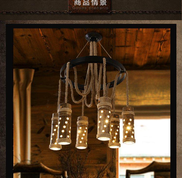 American retro hemp rope chandelier personality creative bar cafe restaurant LED bamboo lamp chandelier  nordic american country retro restaurant cafe lighting fixtures hemp rope creative personality artistic single head pendant lamp