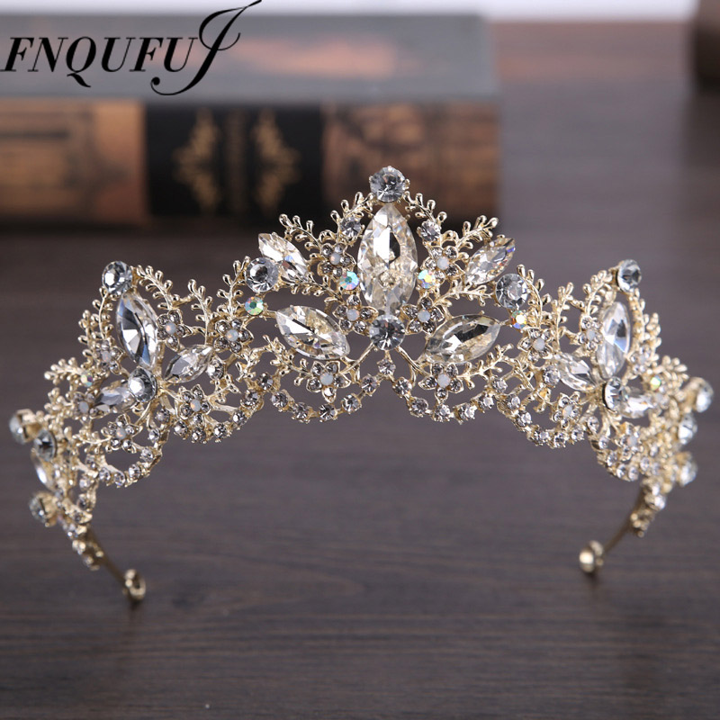 Gold Color wedding crown queen bridal Tiaras leaf bride crystal princess crown headband Wedding Hair Accessories hair jewelry 00009 red gold bride wedding hair tiaras ancient chinese empress hair piece