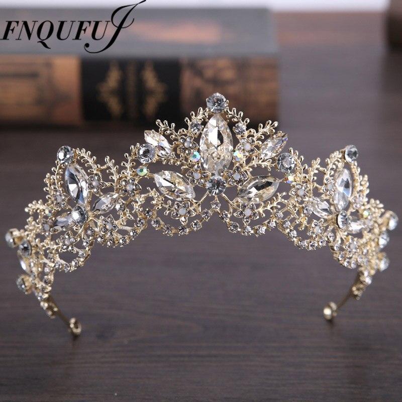 Gold Color wedding crown queen bridal Tiaras leaf bride crystal princess crown headband Wedding Hair Accessories hair jewelry