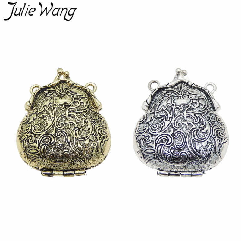 2pcs Vintage Silver Alloy Carved Purse Locket Pendant Charms Jewelry 04452