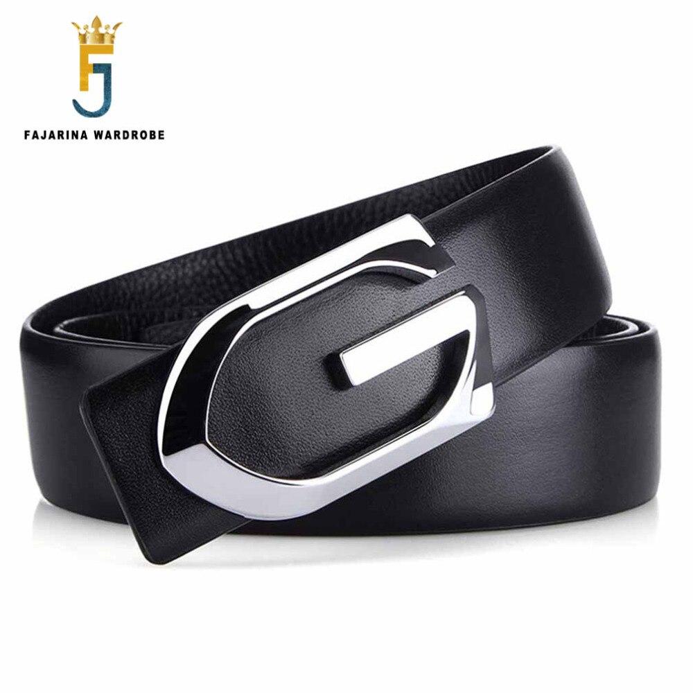 Men's Belts Realistic Fajarina Quality Designer Black Letter Slide Buckle Belts For Men Good Quality 100% Cowhide Mens Genuine Strap Leather Lufj287