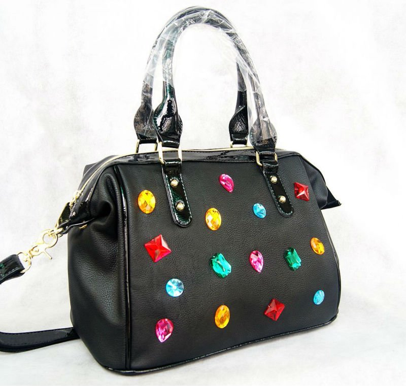 Moda Elmas çanta Renk elmas paketi Siyah kadın çanta omuz - Çanta