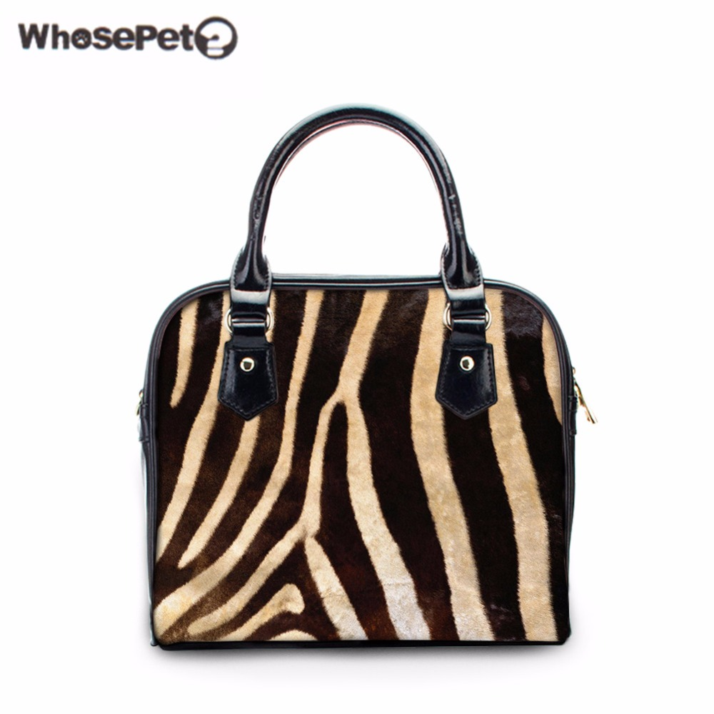 WHOSEPET Zebra Pattern Women's Handbags New Fashion Tote Bolsas Causal Bowler Bag Girls Hobo Messenger High Quality Small Totes crossbody bowler bag