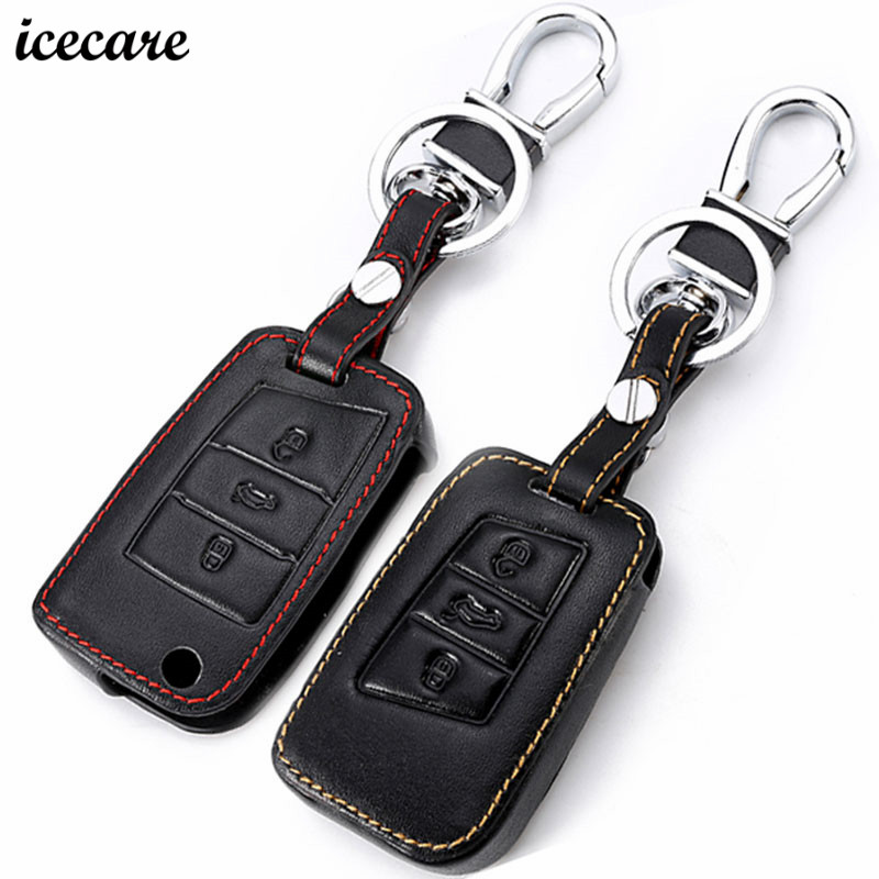 icecare 3 button leather key fob cover case for vw polo. Black Bedroom Furniture Sets. Home Design Ideas