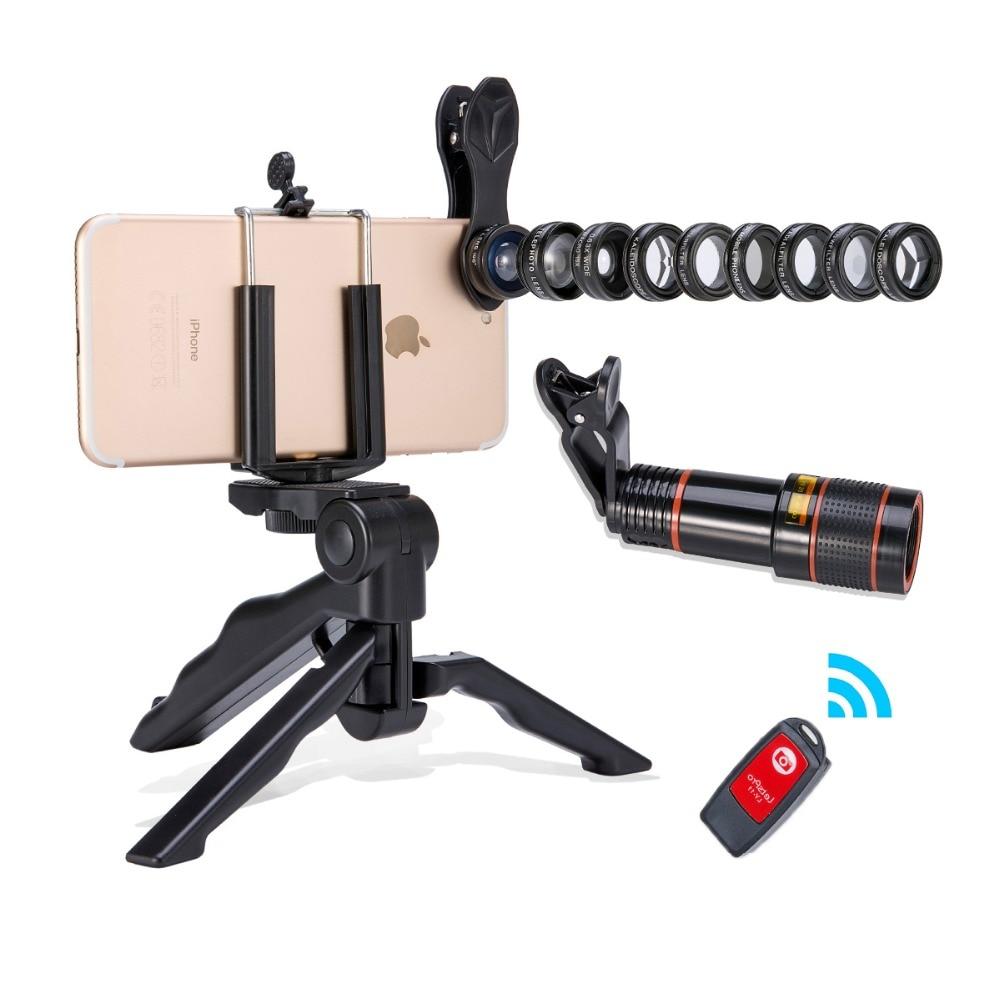 2018 New Convenient camera lens 13 in 1 Akinger mobile phone lens Kit Fisheye Wide Angle macro 12X telescope Lens smartphone