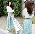 With Belt! 2016 New Women Clothing Set 2 Suits Short Sleeve Summer Cotton Vintage Dots Print Cute Woman Long Dress White Blue