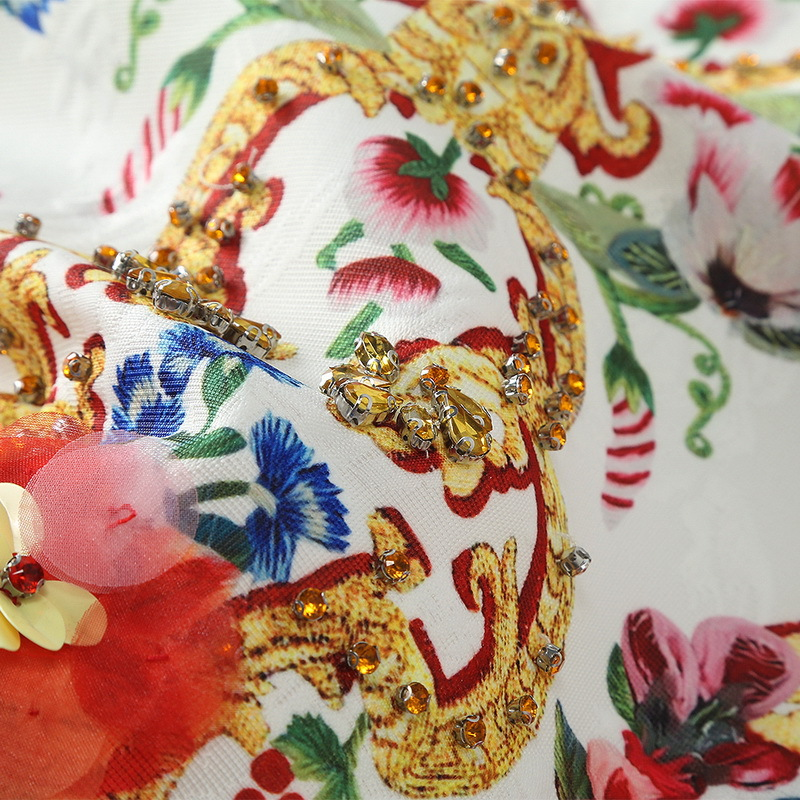 2018 Gratuite Femmes Robe Qualité Floral Robes Manches En Livraison Designer Perles Sans Nouveau Gros Blanc Vintage Haute Imprimer Femelle wdngAWfEx