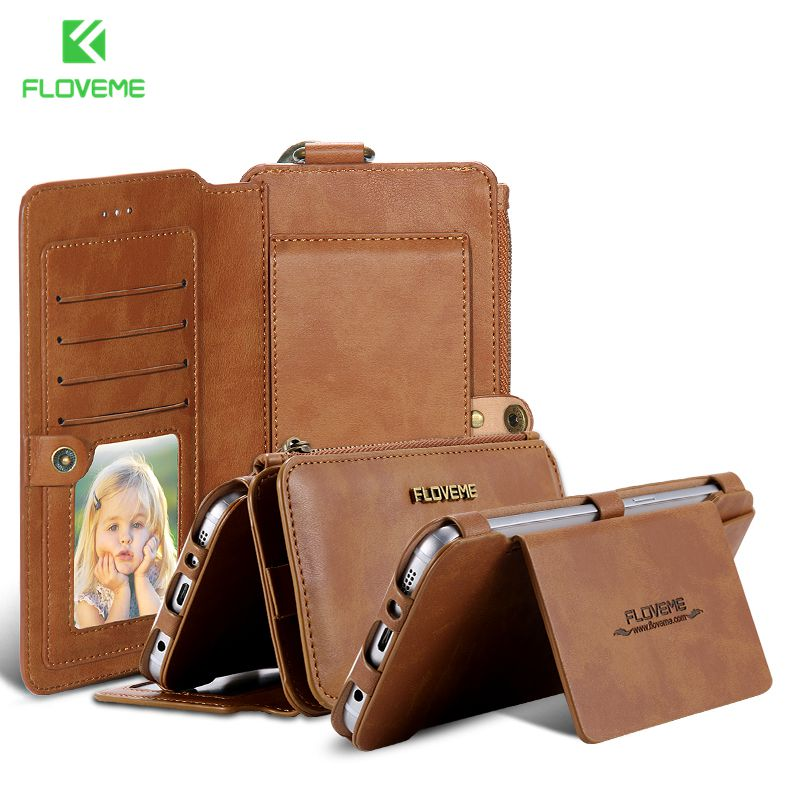 FLOVEME Retro Folded Wallet Case for <font><b>iPhone</b></font> SE 5S for <font><b>iPhone</b></font> 6 7 Plus 2 in 1 Leather Cover Original Brand Stand Card Holder Bags