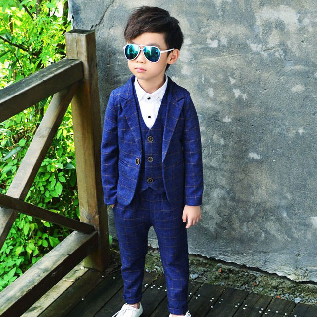 ActhInK 2017 Yeni 3Pcs Boys Plaid Toy Suiti Markası İngiltərə - Uşaq geyimləri - Fotoqrafiya 4