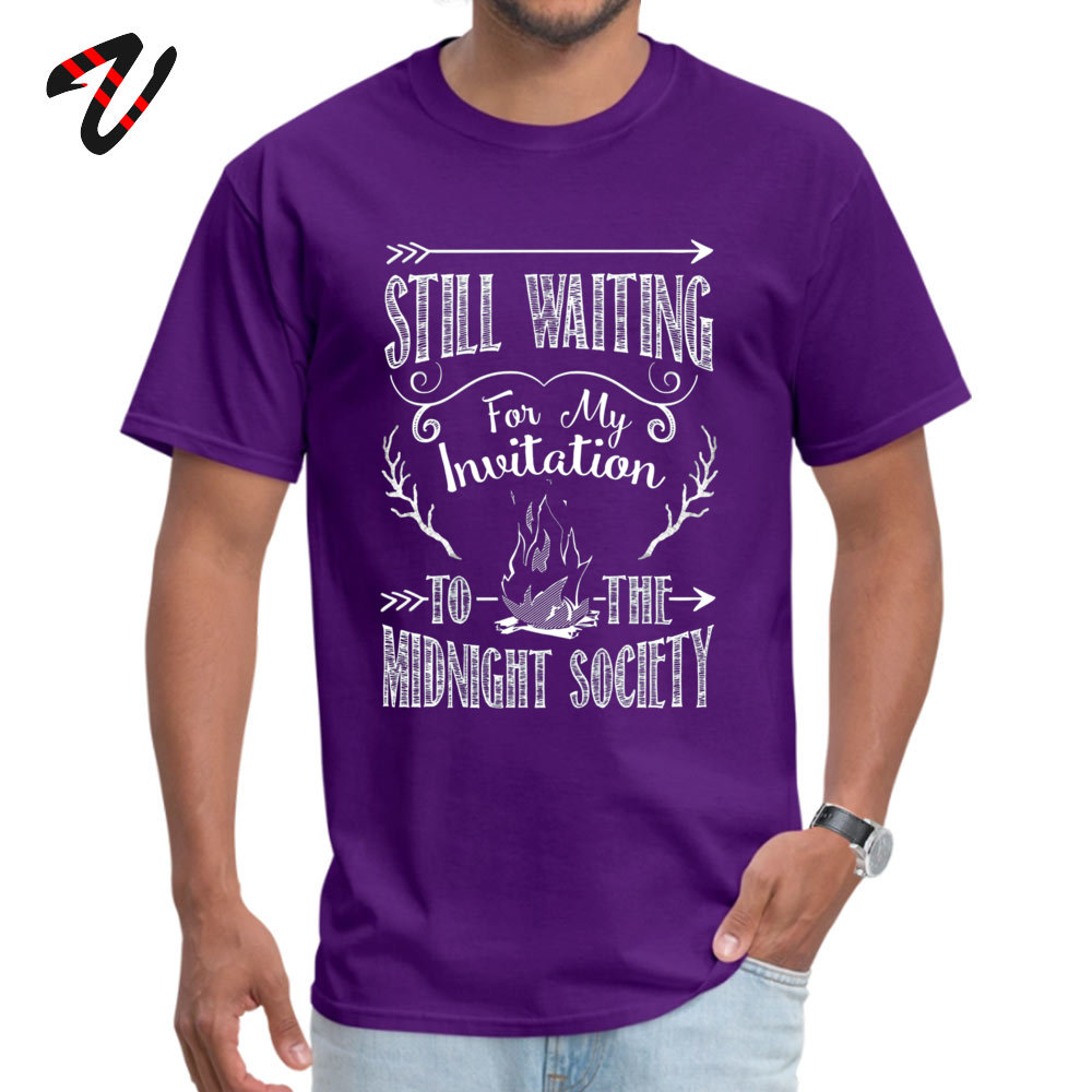 Printed On Mens Discount Cool Tops T Shirt Crew Neck Summer/Autumn 100% Cotton T-Shirt Summer Short Sleeve Tops Shirts Are You Afraid of the Dark 90s Nostalgia purple