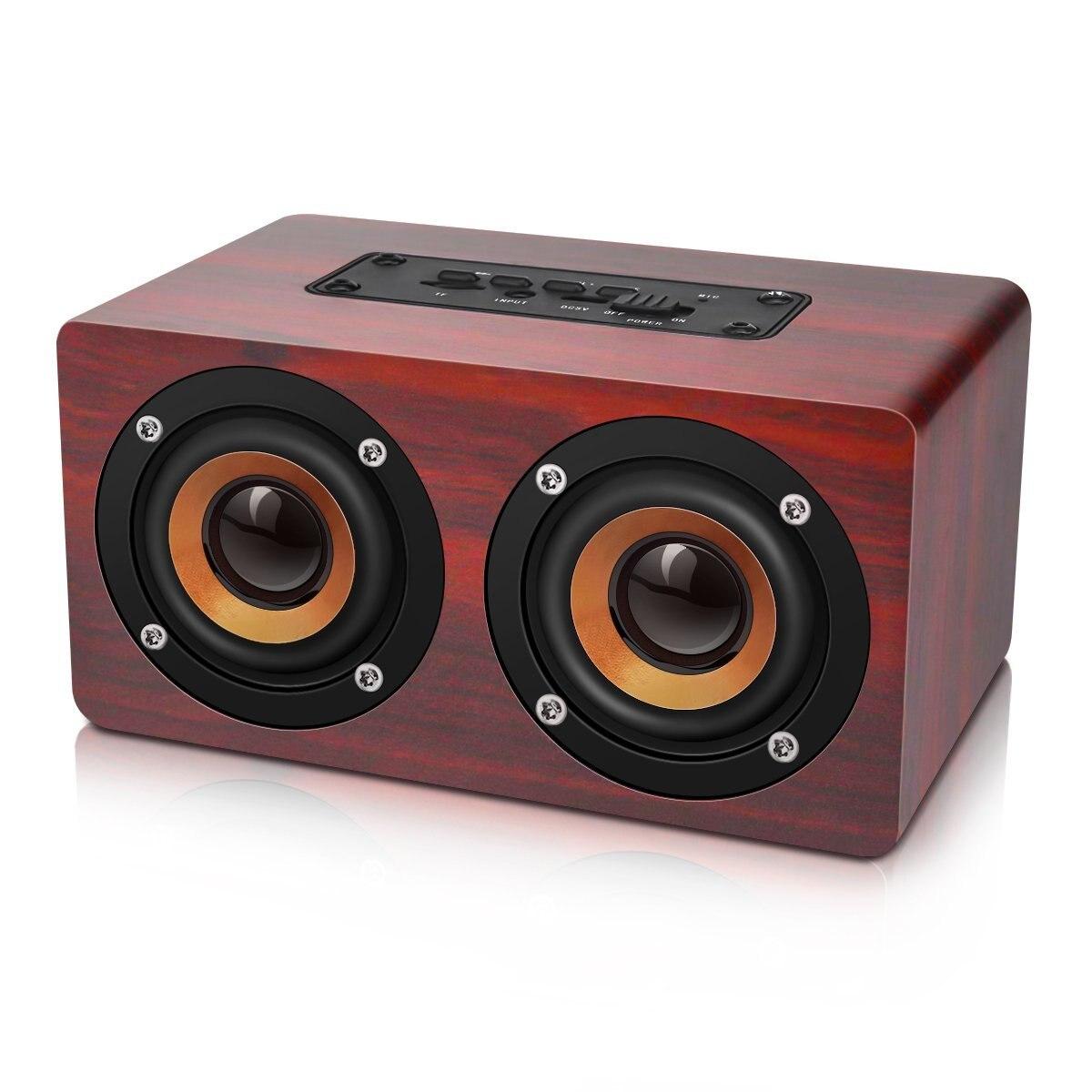 HOT-Retro Wooden Bluetooth Speaker HIFI Wireless Dual Loudspeakers 3D Surround Speaker 1