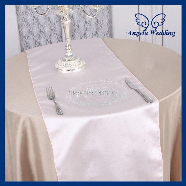 RU011A Cheap Wedding 12u0027u0027*108u0027u0027 Thick Satin Blush Pink Table Runner