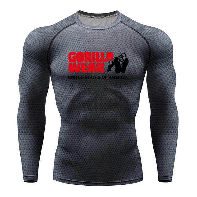 Erkekler Gorilla koşu tişörtü yılan spor giyim spor üst Rashguard futbol giyim çabuk kuruyan spor gömlek erkekler
