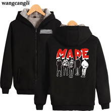 2017 BIGBANG MADE Kpop Cartoon Winter Hoodies Clothes Zipper Plus Velvet Cap Hoodies Men/Women Thicken Warm Sweatshirt Plus Size