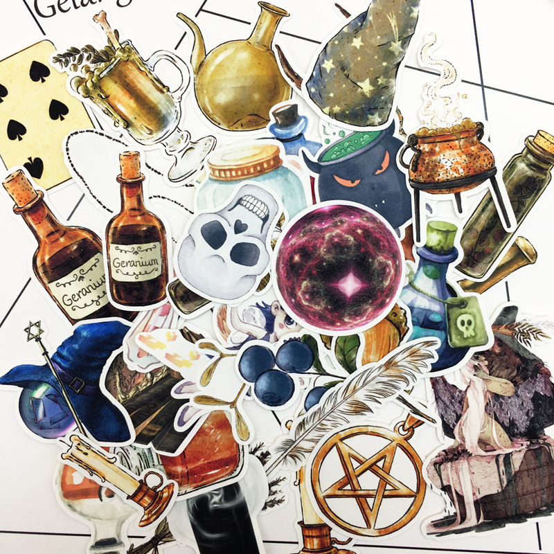 35pcs Hand Drawing Magic Bottle Stickers Crafts And Scrapbooking Decorative Thin Paper Sticker Lovely DIY Stationery