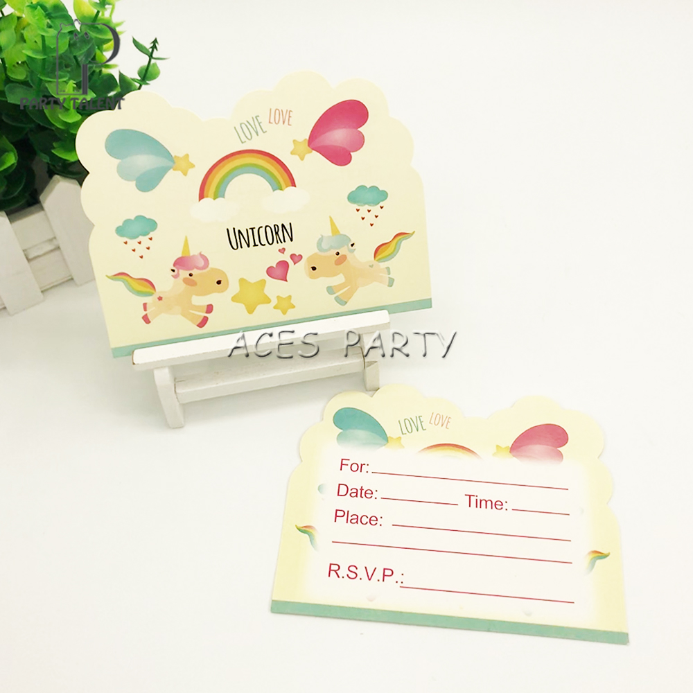 Party supplies 8pcs Unicorn Cute Pony theme invitation card ...