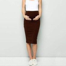 Женская комфортная юбка-карандаш в полоску с высокой талией для беременных женщин; юбка-корсет в полоску для беременных; Одежда для беременных;#4