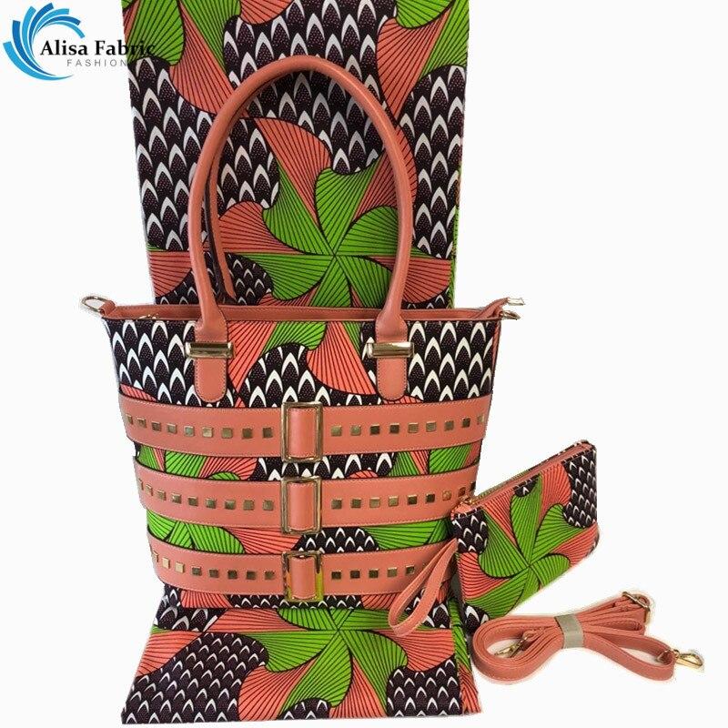 High quality african wax bag purse match 6 yards wax Ankara african prints fabric 2019 Popular