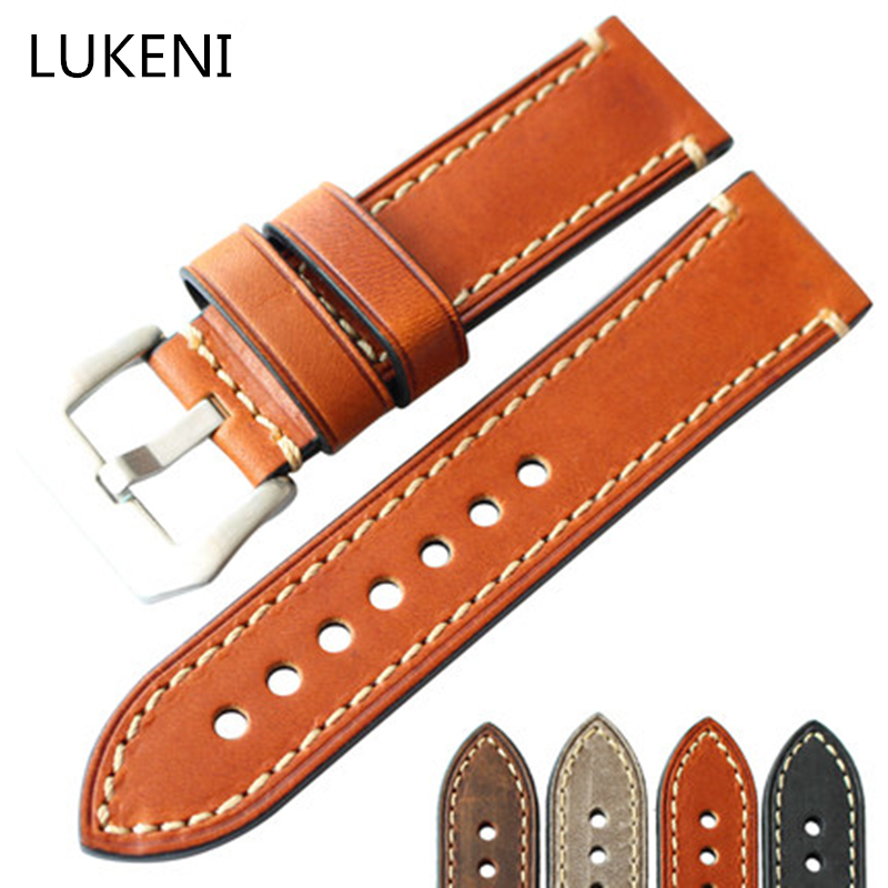 LUKENI 20MM 22MM 23MM 24MM 26MM Brown Gray Italian Calfskin Leather Strap, Retro Classic Watchband Belt For Pam Big Pilot Watch hand made oil wax leather watchbands 24mm retro leather strap classic male models for pam italian calfskin strap