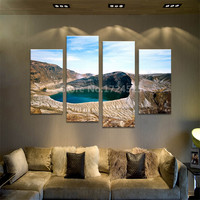 4Pcs Volcanoes And Water Wall Painting Print On Canvas For Home Decor Ideas Paints On Wall