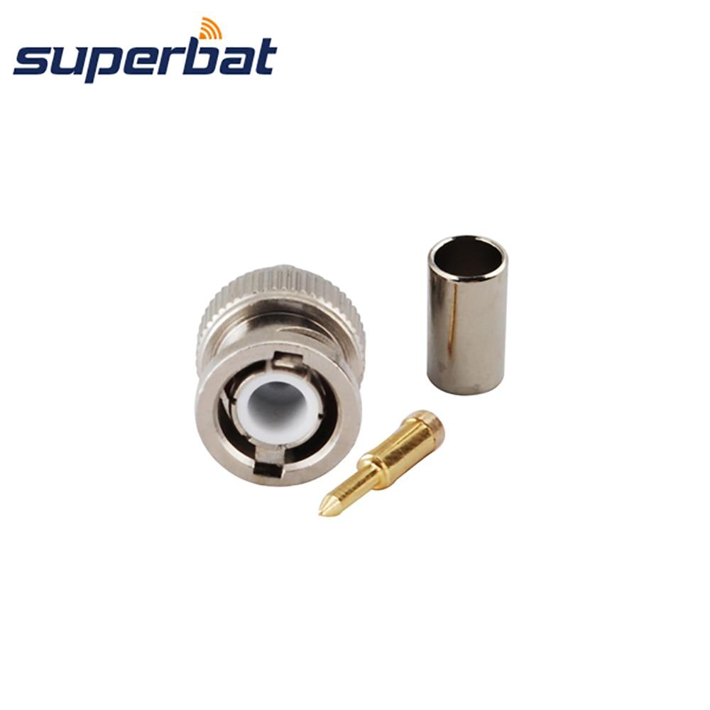 Superbat BNC Solder Plug Crimp for KSR195 RG58 RG142 RG400 Cable Straight RF Connector