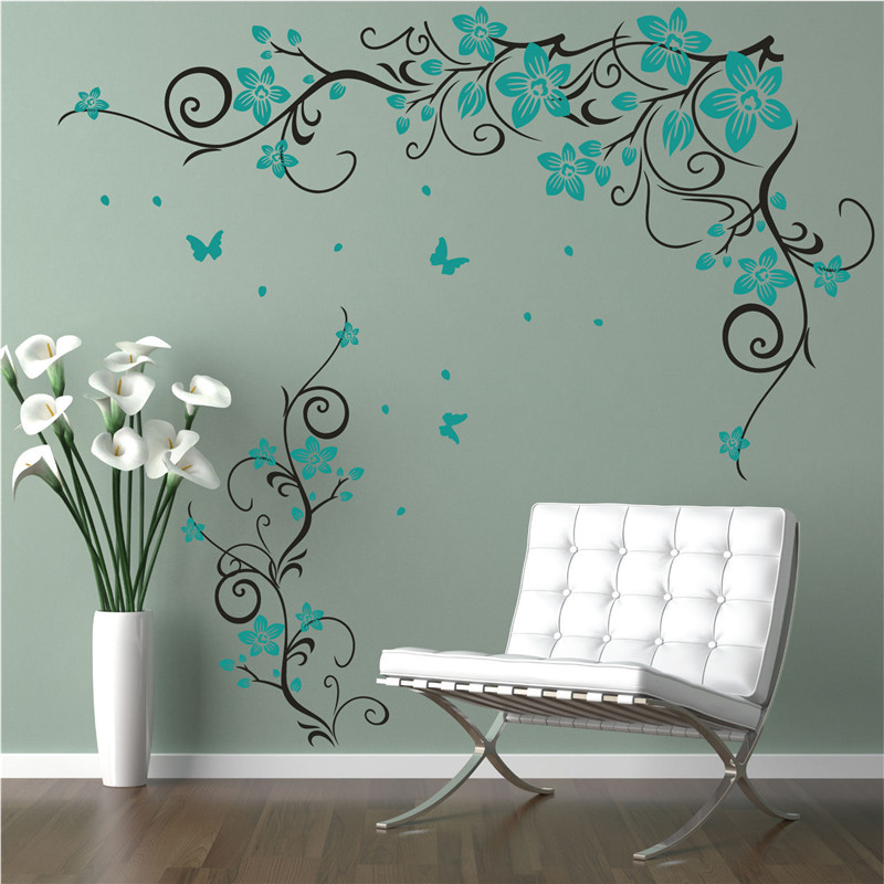 J16 Butterfly Vine Flower Kelebek Vinyl Wall Art Stickers Wall Decals For Kids Room Living Room
