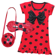 Miraculous Ladybug Mask+Bag+Dress Red Dot Print Summer Costume Lady Bug Kids Girls Clothes Halloween Cosplay Dress(China)