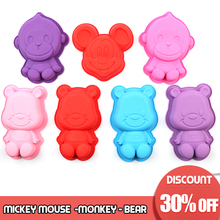 2019 new Lovely Bear Monkey Mickey Mouse Form Cake Mold Silicone Molds Baking Tools Kitchen Fondant decoration 3D DIY cake molds