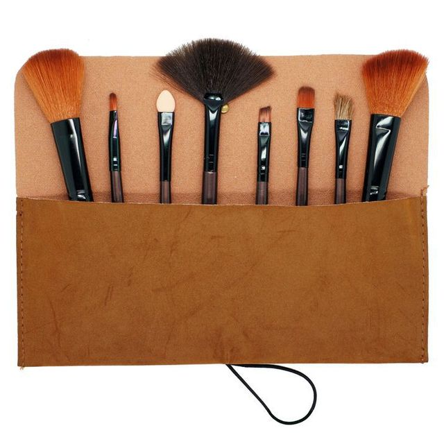 Free shipping 8 Pcs High quality cosmetic brush + Delicate Makeup case & Easy carry make up brush makeup
