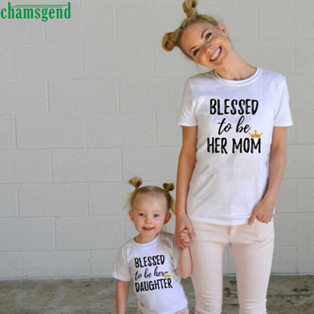 Mommy and Me Kids Clothes Baby Girls Short Sleeve Letter Print T shirt Outfits MAR5 P30 drop SHIPPING