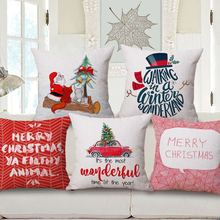 Santa Claus Cushions Cover Christmas Pillow Cover Waist Cotton Linen Pillow Case Throw Pillowcase for Sofa Home Decoration