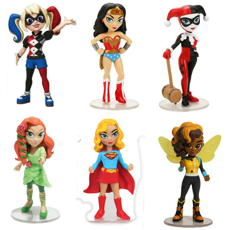 DC Super Hero Girls Rock Candy Vinyl Figurine Harley Quinn Bumble Bee wonder woman Poison Ivy 6pcs set figure toy figurine