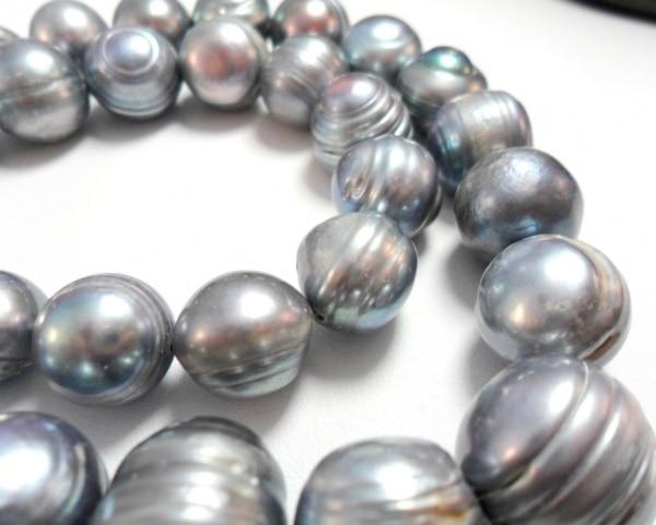 Полудрагоценный камень жемчуг большой серый серебрный пресноводный жемчуг бисер центр Просверленный серый синий 12 14 мм 7,5 дюймов
