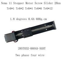 28mm NEMA11 Stepper Motor Screw rod slider platform 0.6A 6N.cm 600g.cm Tr6*1*200mm 250mm 300mm Screw slider
