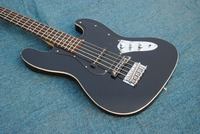 Ammoon PB Style Bass Guitar Solid Wood Basswood Body Rosewood Fingerboard with Gig Bag Strap Cable Pickups black
