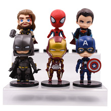 цена на 6 Styles/lot Super Hero Iron Man Superman Captain Superman Spider-man Batman Thor PVC Action Figure Doll Collectible Model Toy