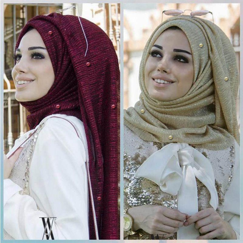 Image 3 - Woman Shawl Wrap Hijab Scarf Wrinkle Head Scarf Shiny Sparkling  Elastic Gold Silk Yarn Pearls Wedding Party Muslim HijabsIslamic  Clothing