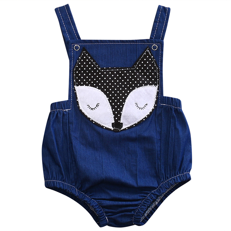 2017 New Denim Romper Cute Newborn Baby Boy Girl Fox Printed Backless Halter Jumpsuit Outfits Sunsuit Children Clothes 0-18M 2017 floral newborn baby girl clothes ruffles romper baby bodysuit headband 2pcs outfits sunsuit children set