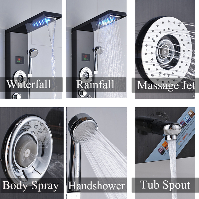 Bathroom Shower Faucet with LED Lights Digital Screen