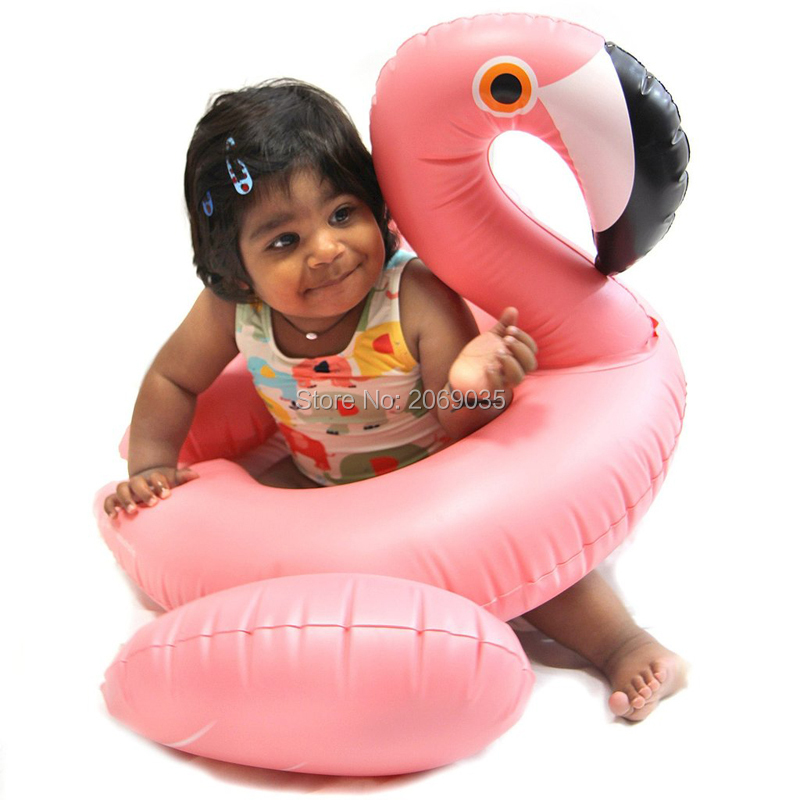 70cm Pink Flamingo Adjustable Swimming Ring Kids Adult Inflatable Pool Float Water Party Baby Floats Family Matching Mattress