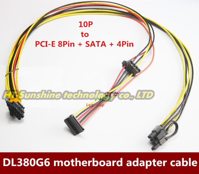 NEW  2PCS/LOT Motherboard 10Pin to PCI-E 8Pin (6+2Pin)+SATA+4Pin IDE Molex Adapter Power Cable Cord For HP DL380G6 Server new arrival sata 15 pins to pci e 6 pins hdd power adaptor cable lead wire for pc hard drive sata power cables